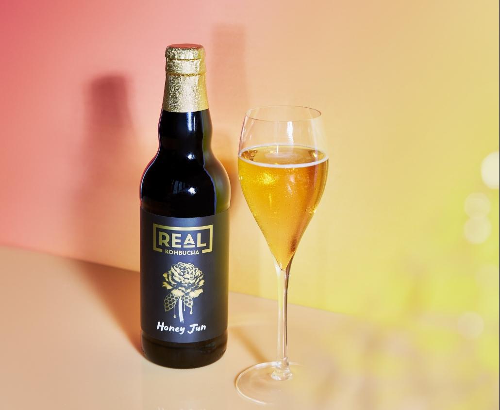 Glass of Honey Jun Kombucha