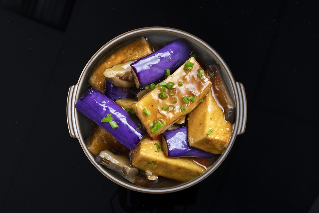 Tofu, aubergine and Japanese mushroom claypot