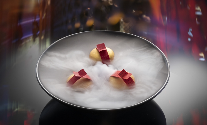 Fortune Macarons surrounded in smoke