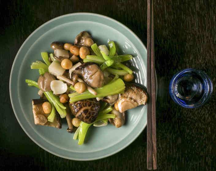 Three style mushroom stir fry