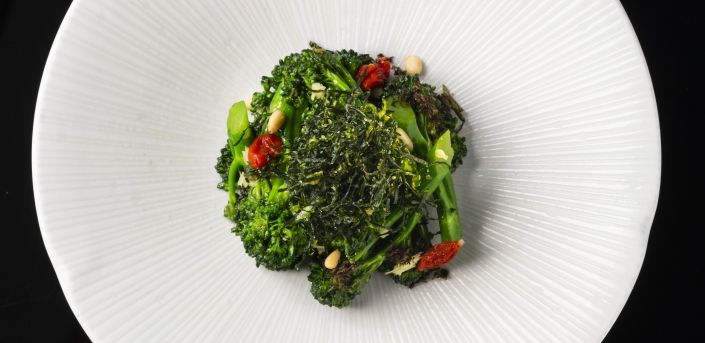 Stir-fry baby broccoli and preserved olive