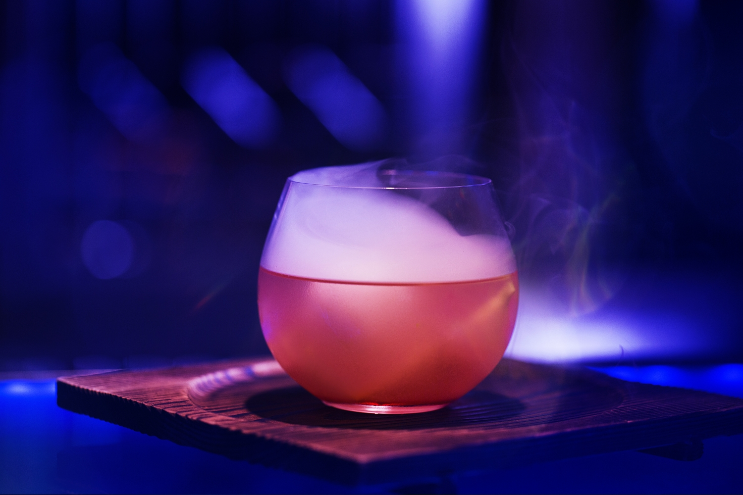 Cocktail with smoke coming out of it