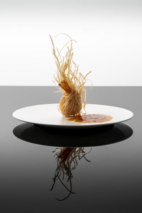 Crispy wild prawn with foie gras sauce