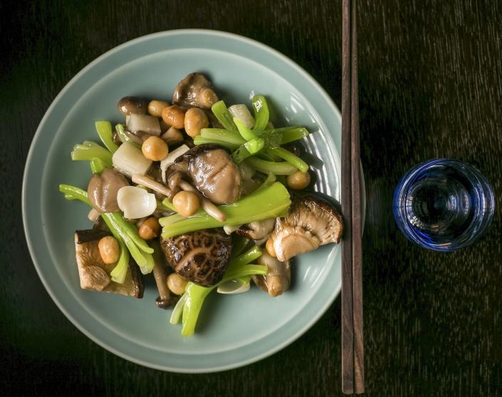 Three style mushroom stir-fry