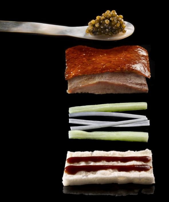 Stacked Peking duck pancake with caviar