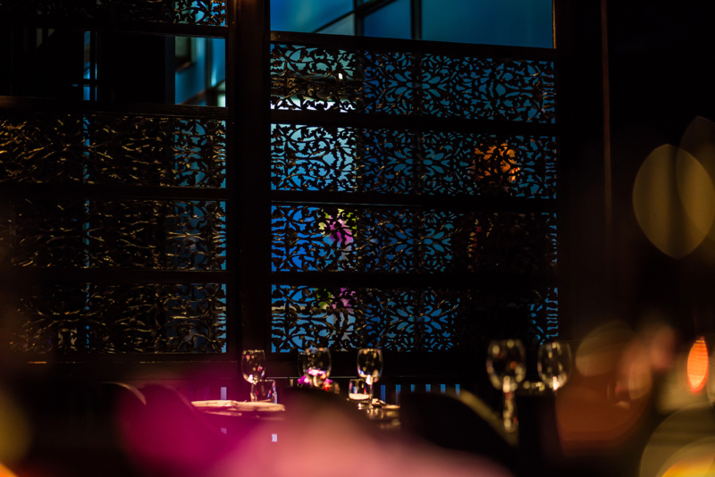Hakkasan dining room with latticework background