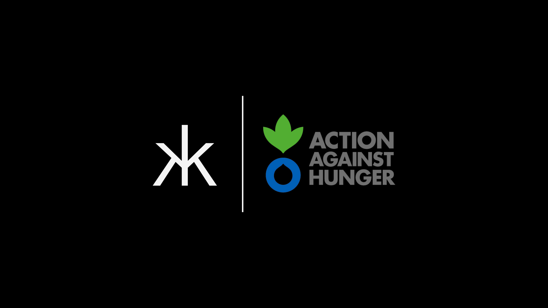 Hakkasan monogram next to Action Against Hunger Logo