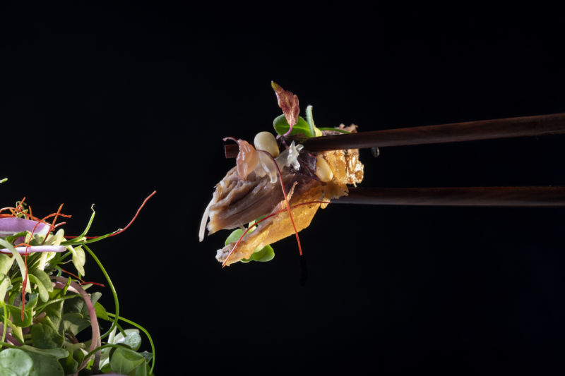 Piece of duck being held by chopsticks