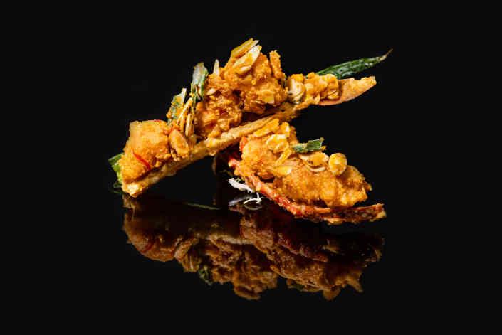 Wok-sear Alaskan king crab almond